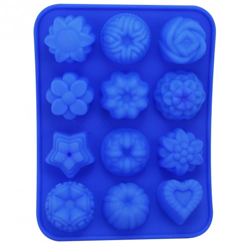 12 Flower Chocolate Candy Clay and Soap Mold