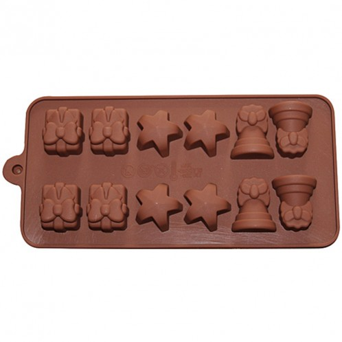 Bell Star and Present Shaped Chocolate Candy and Soap Mold