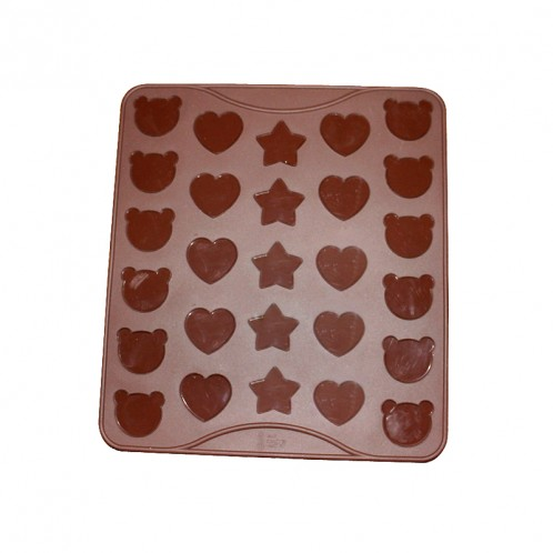 Bear Heart and Star Silicone Macaron and Fondant Mold Mat