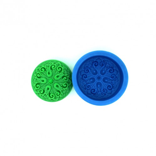 2.5 Inch Circle Fancy Vine Soap Mold