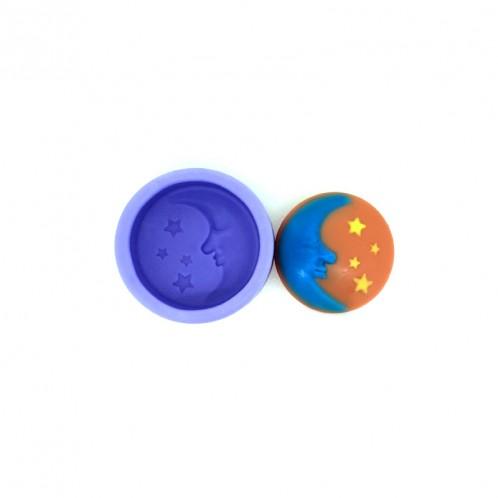 2 Inch Circle Moon and Stars Soap Mold