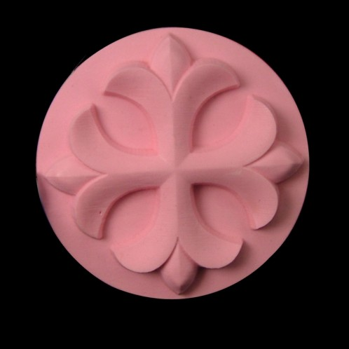 Circle Fleur de Lis Cross Soap Mold