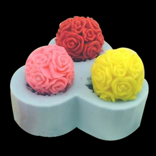 3 Large Flower Balls Soap or Candle Mold