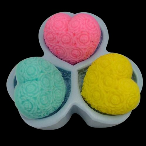 3 Large Floral Hearts Soap Bar Mold