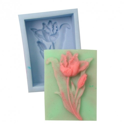 Rectangular Pop Out Flower Soap Bar Mold