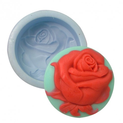 Circle Pop Out Rose Flower Soap Mold