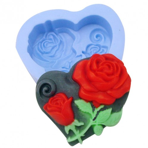 Heart Shaped with Flowers Soap Mold