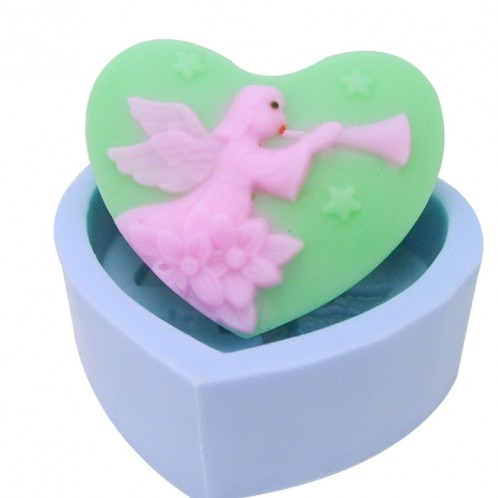 Heart Shaped Angels Blowing Horn Soap Mold