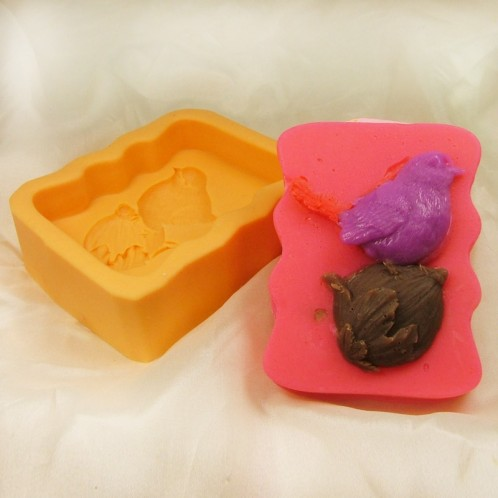 Wavy Sided Bird Perched Silicone Soap Mold
