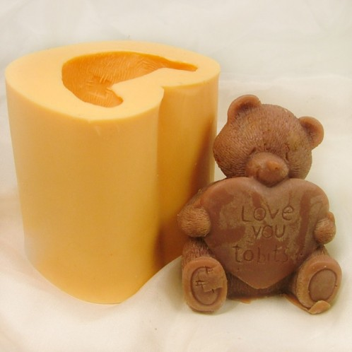3D Bear With Heart Sign Soap Mold
