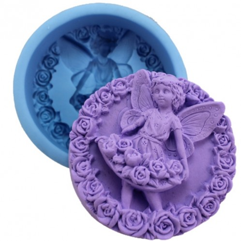 Standing Fairy in a Flower Dress in Circular Soap Mold