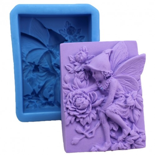 Fairy Helping the Flowers Bloom Silicone Soap Mold
