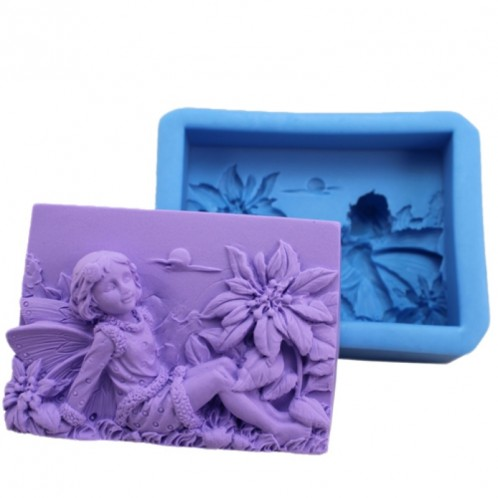 Relaxing Fairy With Flowers Flowers Silicone Soap Mold