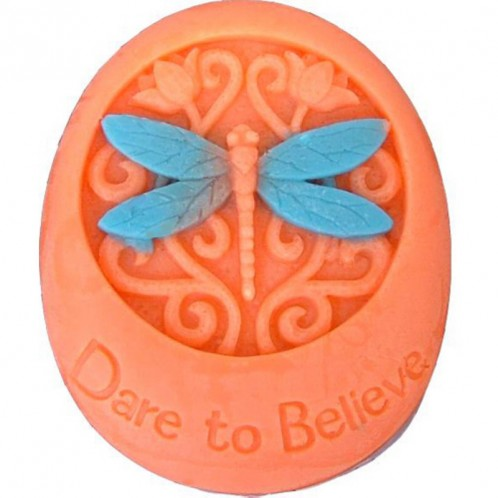 Oval Shaped Dare to Believe with Dragonfly Soap Mold