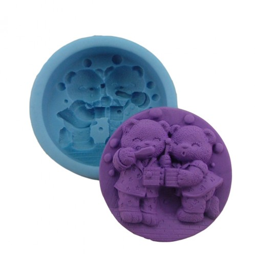 Happy bears blowing bubbles 3D soap mold