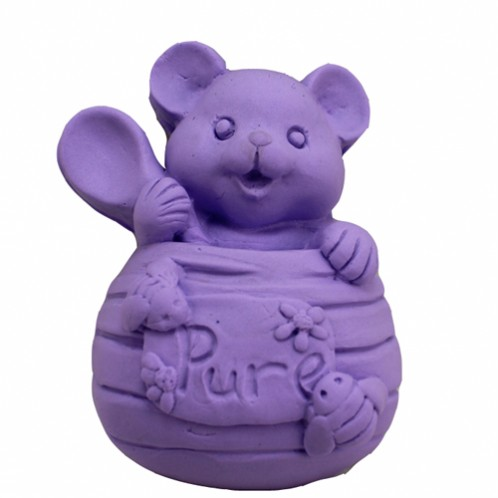 Pure cuteness: small bear in honey jar with spoon 3D soap mold