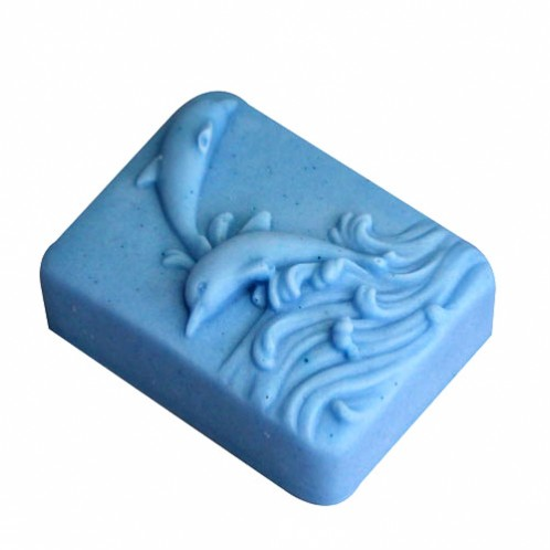 Two playful dolphins jumping soap mold