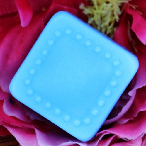 Square soap mold with round, raised beads border