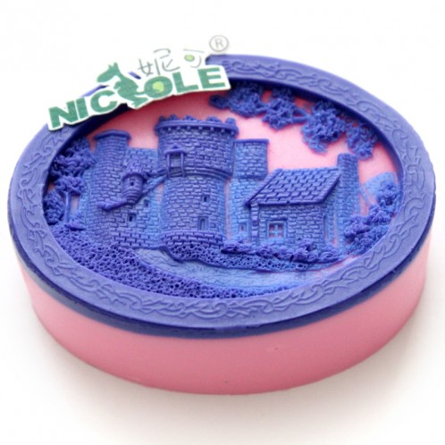 Amazing castle detail relief-sytle oval soap mold