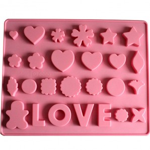 Love with Hearts and Stars Chocolate Candy Clay and Fondant Mold