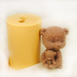 3D Bear Holding Baby Bear Soap Mold